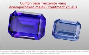 Batu Tanzanite yang di treatment agar lebih bagus.