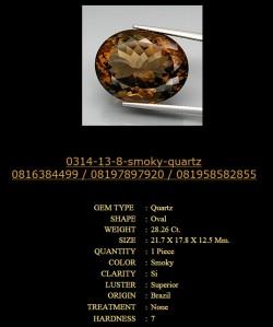 Batu permata smooky quartz 0314-13-8 28.26 karat