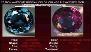 Batu alexandrite 2 warna, Hijau kebiruan  dan ungu, 27.10c - 02102014