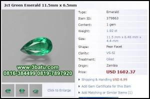 Zamrud zambia 2 carat