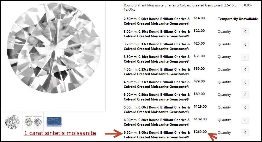 1 carat sintetis moissanite