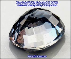 Blue Safir VVS2, Unheated ID 11715. 7.3x6.5x4.1mm, 2.13c, Madagascar.