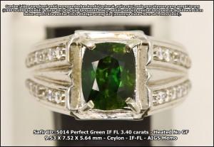 Safir Hijau Perfect SN 5014 memo AIGS - Super Jernih
