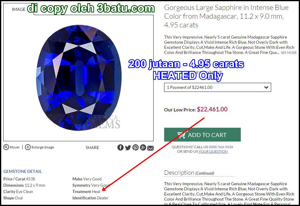 Royal blue safir heated only