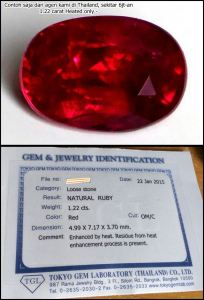 Sample Red Blood Ruby 1.22 carats HEATED Only