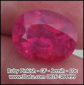 Ruby pinkish glass filled jernih