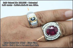 Batu Safir ukuran kecil untuk cincin pria.