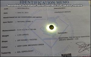 AGL IGP jakarta Serendibite dinyatakan Spinel
