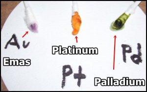 Warna larutan stannous terhadap Emas Platinum dan Palladium