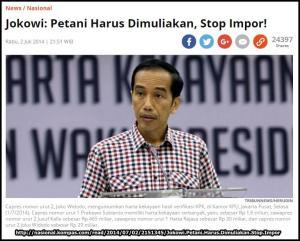 Jokowi stop impor pangan