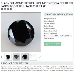 berlian hitam 55 carat GIA