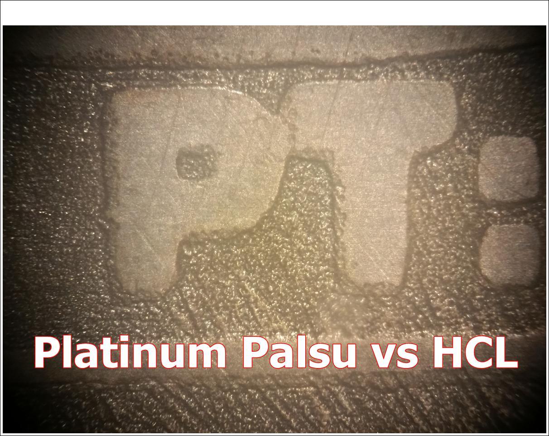platinum batangan palsu terhadap larutan hcl