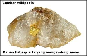 batu quartz yang mengandung emas
