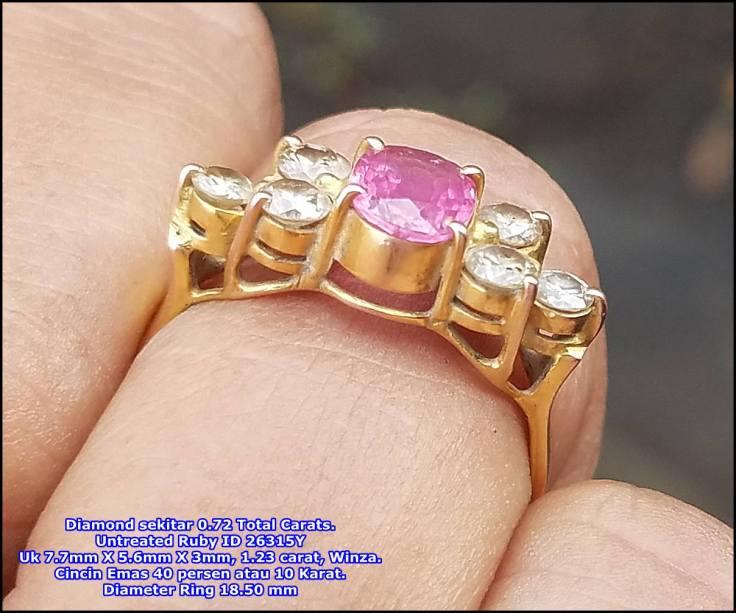 Untreated Ruby Diamond Ring
